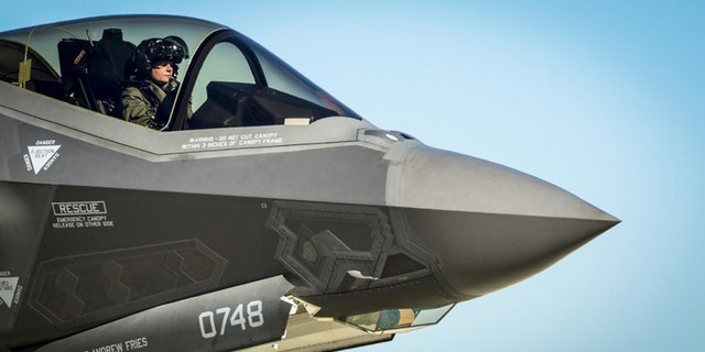 An Air Force F-35 Lightning II pilot prepares to refuel Dec. 12, 2013, at Eglin Air Force Base, Fla. - file photo.