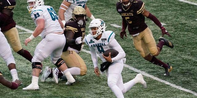 Coastal Carolina's Fred Payton (9) runs against Texas State during the second half of an NCAA college football game in San Marcos, Texas, Saturday, Nov. 28, 2020. (AP Photo/Chuck Burton)