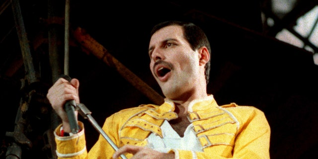 In this July 20, 1986 file photo, Queen lead singer Freddie Mercury performs in Germany. (AP Photo/Marco Arndt, File)