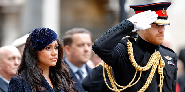 Meghan, Duchess of Sussex and Prince Harry, Duke of Sussex attend the 91st Field of Remembrance at Westminster Abbey on November 7, 2019, in Londen, Engeland.