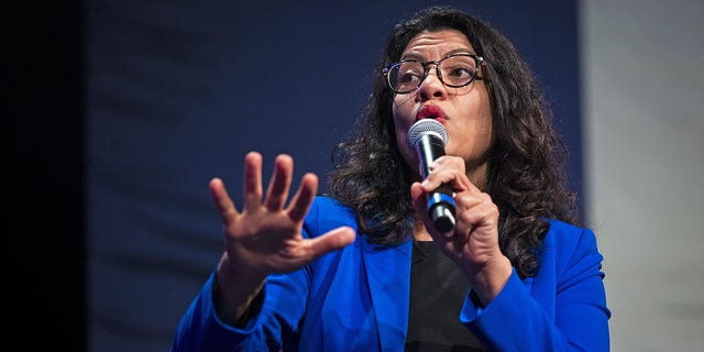 Representative Rashida Tlaib, a Democrat from Michigan, left, speaks during a panel discussion during a campaign event for Senator Bernie Sanders, an independent from Vermont and 2020 presidential candidate, in Clive, Iowa, U.S., on Friday, Jan. 31, 2020. Tlaib was one of the co-sponsors of a bill for $2,000 stimulus checks that was introduced Thursday. Photographer: Al Drago/Bloomberg via Getty Images