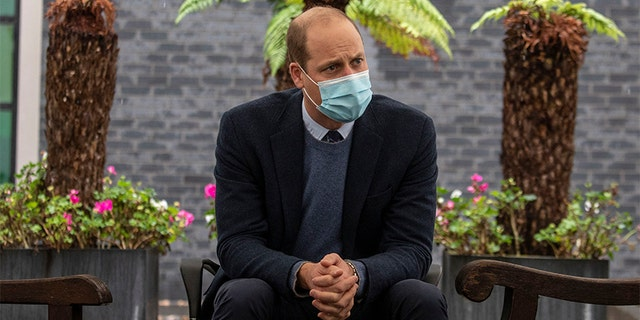 Prince William, pictured here on October 21, 2020, reportedly 'struggled to breathe' while he battled the novel virus back in April during the early days of the global pandemic.