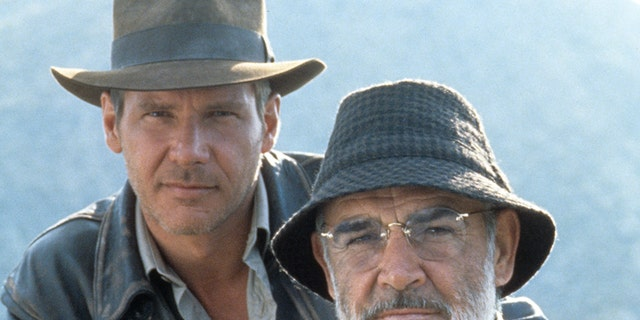 Harrison Ford and Sean Connery on the set of the film