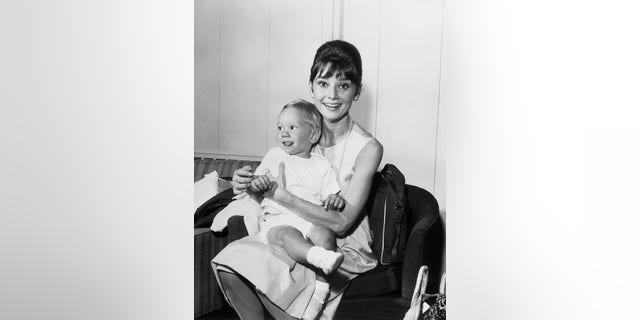Audrey Hepburn with her son Sean, age 3. She had just completed 'Breakfast at Tiffany's' and 'The Children's Hour.'