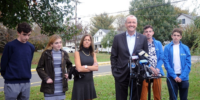 Democratic then-gubernatorial candidate Phil Murphy with his wife and children after voting on election day November 7, 2017 in Asbury Park, New Jersey. (Bobby Bank/Getty Images)