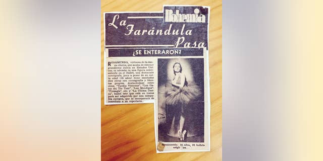 An old news clipping sent to Fox News shows Marta C. González reportedly at age 18. She is pictured wearing a ballet tutu and the article praises her work as a choreographer. (Asociación Música para Despertar)