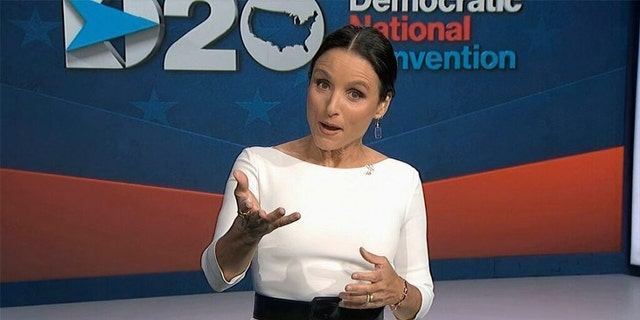 Julia Louis-Dreyfus, serving as moderator, speaks during the fourth night of the Democratic National Convention on Thursday, Aug. 20, 2020.