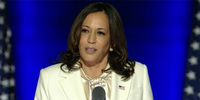 Vice President-elect Kamala Harris addresses supporters Saturday night after Fox News Decision Desk called the presidential election for Joe Biden earlier in the day