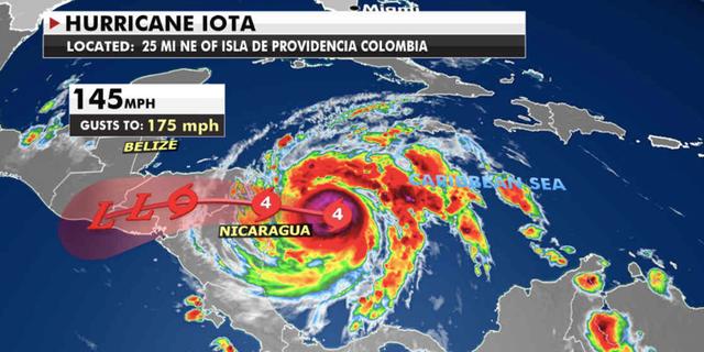 Hurricane Iota's path (폭스 뉴스)