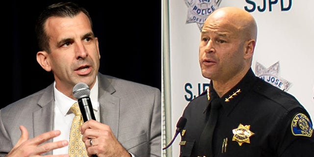Photos of San Jose Mayor Sam Liccardo and Police Chief Edgardo Garcia