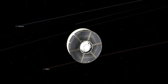 This illustration of the Mars 2020 spacecraft in interplanetary space was generated using imagery from NASA's Eyes on the Solar System. The image is from the mission's midway point between Earth and Mars. (NASA/JPL-Caltech)