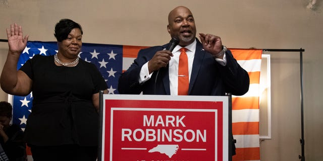 Republican Mark Robinson, projected winner of the North Carolina race for lieutenant governor, addresses supporters on Nov. 3. Courtesy of Robinson campaign
