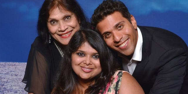 Mayuri Saxena, centro, with her brother Mayank and their mother Dr. Madhu Saxena. (Photo courtesy: Mayank Saxena)
