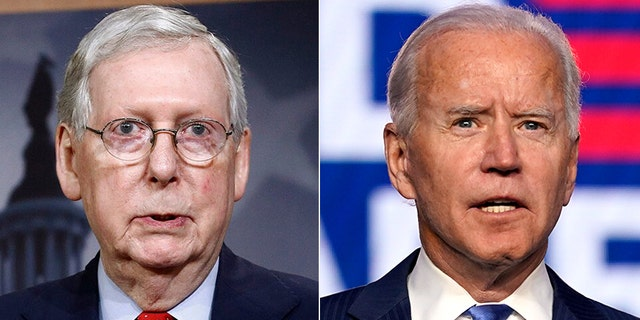 Sen. Mitch McConnell, R-Ky., left, offered little hope of GOP support for President Joe Biden's infrastructure spending proposal.