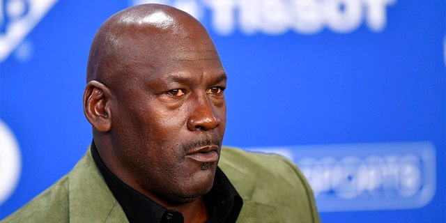 PARIS, FRANCE - JANUARY 24: Michael Jordan attends a press conference before the NBA Paris Game match between Charlotte Hornets and Milwaukee Bucks on January 24, 2020 in Paris, France. (Photo by Aurelien Meunier/Getty Images)