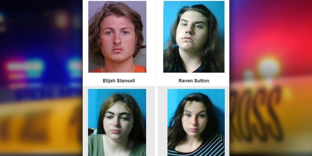 The suspects, 18-year-old Elijah Stansell, 16-year-old Raven Sutton, 15-year-old Kimberly Stone, and 14-year-old Hannah Eubank, are accused of going to the victim's home to ambush him over a romantic dispute.