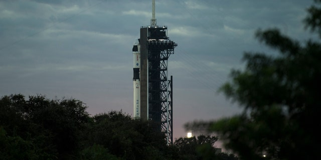 The SpaceX Falcon 9 rocket with the Crew Dragon spacecraft is seen on the launch pad at Launch Complex 39A as preparations continue for the Crew-1 mission on Sunday, November 15, 2020, at NASA's Kennedy Space Center in Cape Canaveral, Florida. .  (Joel Kowski / NASA via AP)