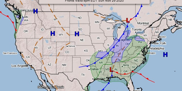 Weather map showing the developing storm system.