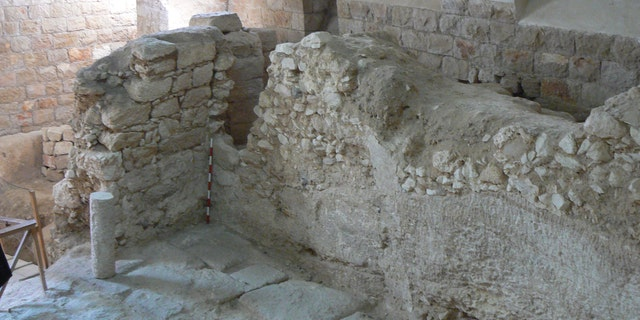 The first-century A.D. house showing one of its rock-cut walls.