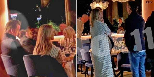 California Gov. Gavin Newsom (circled in left photo and standing in right photo) dines at The French Laundry in Yountville, Calif. on Nov. 6
