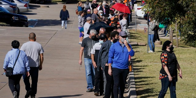 The line for early voting at a polling place in Oklahoma County wraps around the Edmond Church of Christ and more, Friday, Oct. 30, 2020, in Edmond, Okla.