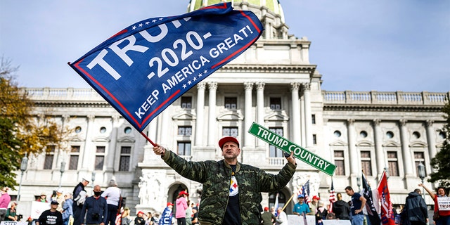 A man waves a flag at a pro-Trump rally at the Pennsylvania state Capitol in Harrisburg, Pa., Nov. 5. (Dan Gleiter/The Patriot-News via AP)