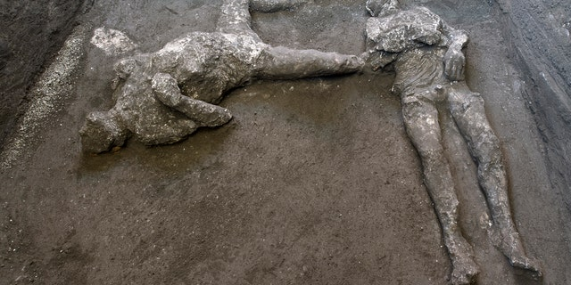 The casts of what are believed to have been a rich man and his male slave fleeing the volcanic eruption of Vesuvius nearly 2,000 years ago, are seen in what was an elegant villa on the outskirts of the ancient Roman city of Pompeii destroyed by the eruption in 79 A.D., where they were discovered during recent excavations, Pompeii archaeological park officials said Saturday, Nov. 21, 2020.