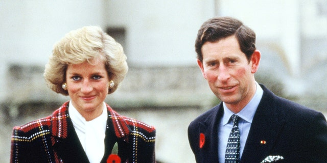 Charles and Diana, Prince and Princess of Wales, pose outside Chateau de Chambord during their official visit to France on November 9, 1988 in Chambord, 프랑스.