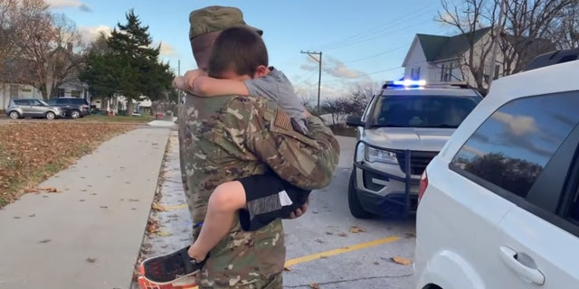 Morgan County Deputy Sheriff Clint Thomas surprised his son after pulling over the car he was in on Monday.