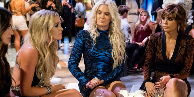 Kyle Richards, Teddi Mellencamp Arroyave, Erika Girardi, Lisa Rinna appear in an episode of 'The Real Housewives of Beverly Hills.' (Nicole Weingart/Bravo/NBCU Photo Bank/NBCUniversal via Getty Images)