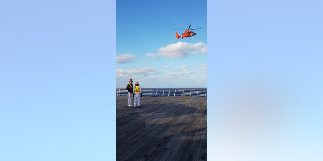 The man was later taken by U.S. coast Guard helicopter to a medical facility shoreside.
