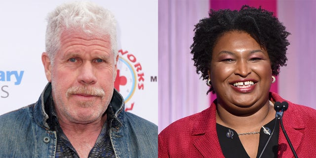 Ron Perlman (left) praised Stacey Abrams (right) for turning Ga., blue this year, reversing his boycott on filming in the state.