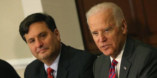 Then-Vice President Joseph Biden (R) joined by Ebola Response Coordinator Ron Klain (L), speaks during a meeting regarding Ebola at the Eisenhower Executive office building November 13, 2014 in Washington, D.C. (Photo by Mark Wilson/Getty Images)