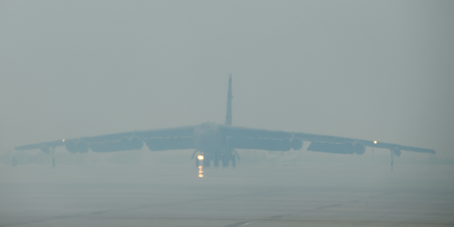 "A B-52H ""Stratofortress"" at Minot Air Force Base in North Dakota Friday."