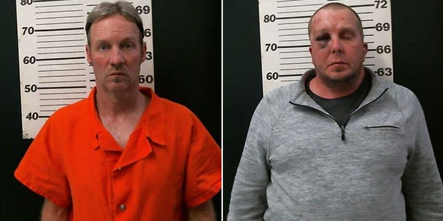 Troy Pexton, left, and Scott Blackett were arrested Friday after police found the body of a man believed to have been murdered dumped in the desert.