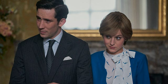 Josh O'Connor and Emma Corinne play Prince Charles and Princess Diana in The Crown.