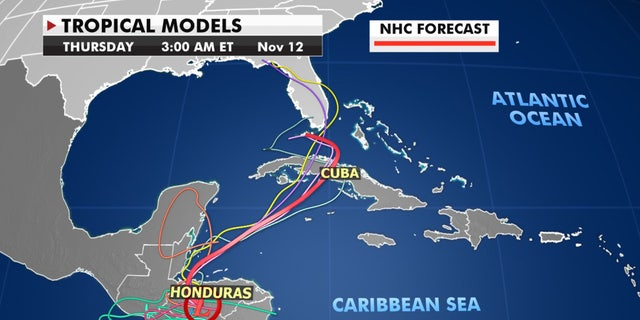 Forecast models show Eta may impact Florida by early next week.