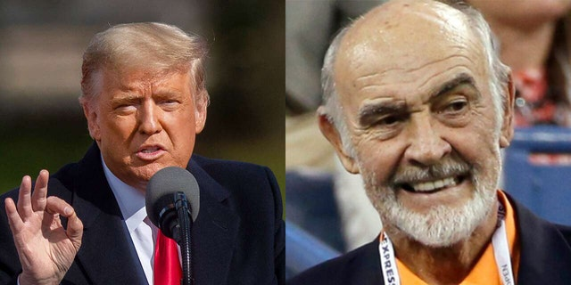 Donald Trump (left) said that the late Sean Connery (left) helped him with a 'big development' in Scotland, though didn't offer any specifics.