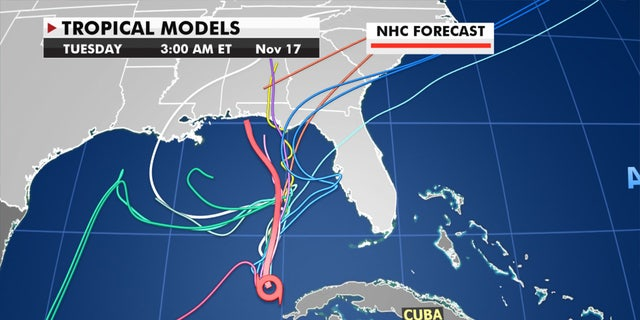 Forecast models show there is still some uncertainty in where Eta may go.