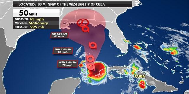 The forecast track of Tropical Storm Eta.