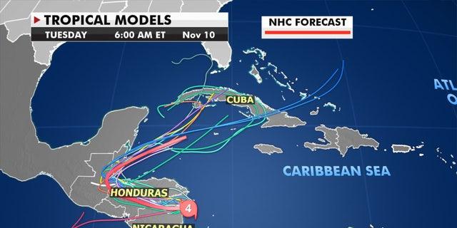 Predictive patterns show where Eta might go next.