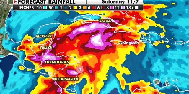 Estimated precipitation from Hurricane Eta.