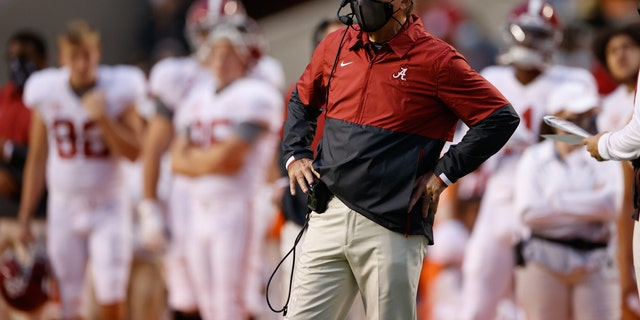 Head Coach Nick Saban of the Alabama Crimson Tide watches a play from the sideline against the Tennessee Volunteers at Neyland Stadium on October 24, 2020 in Knoxville, Tennessee. (Photo by Kent Gidley/Collegiate Images/Getty Images)