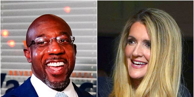 This combination of photos shows Raphael Warnock, left, a Democratic candidate for the U.S. Senate. and Republican U.S. Senate candidate Sen. Kelly Loeffler on Nov. 3, 2020, in Atlanta. The two are in a runoff election for the Senate seat. (AP Photos)