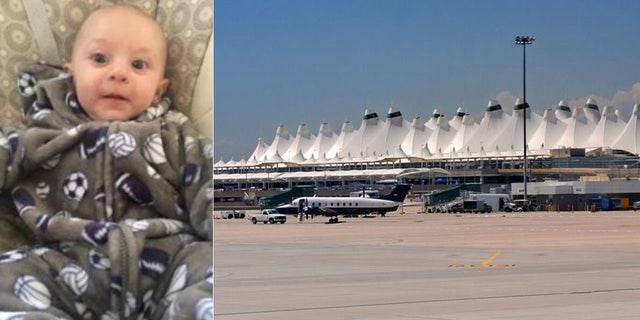 An Ambert Alert was issued Saturday for 5-month-old Peyton Everett Caraballo-Winston, who was found with his alleged abductor at Denver International Airport, 据警察.