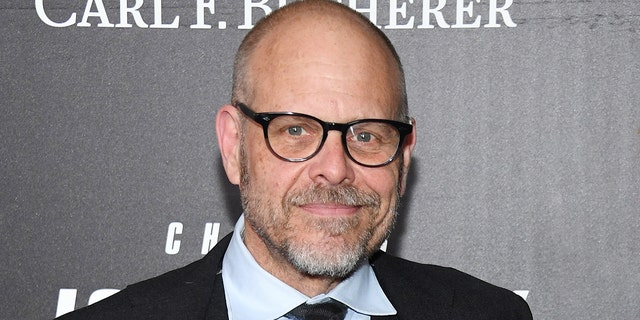 Alton Brown is pictured in 2019. He apologized Wednesday for tweeting about the Holocaust on Tuesday night. (Photo by Dimitrios Kambouris/Getty Images)