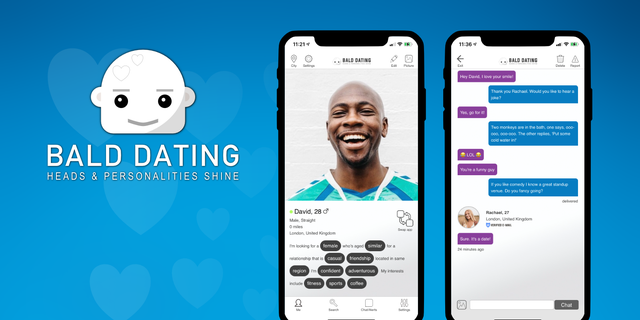 A new dating app called Bald Dating is catering to singles without hair. (DMCUBED LTD).