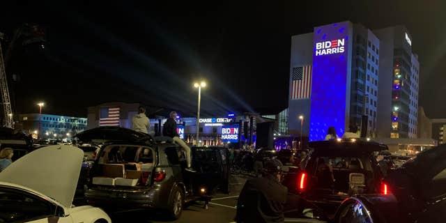 조 바이든 당선자 당선자가 토요일 밤 델라웨어 주 윌 밍턴에서 연설.