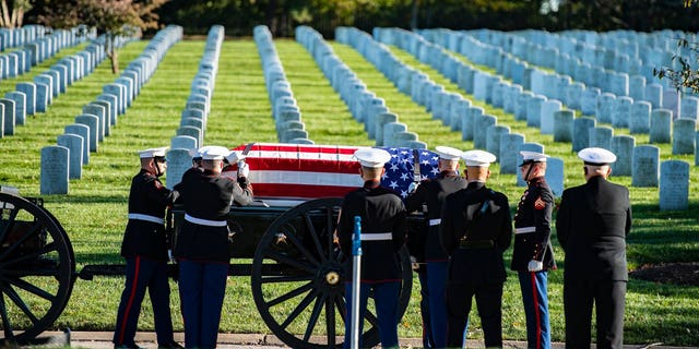 The Old Guard Caisson Platoon during the burial of Medal of Honor recipient Bruce Carter at Arlington National Cemetery on Wednesday.