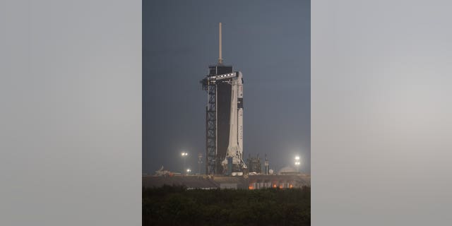 A SpaceX Falcon 9 rocket with the company's Crew Dragon spacecraft stands tall on the launch pad at NASA Kennedy Space Center's Launch Complex 39A in Florida on Tuesday, Nov. 10, after being rolled out overnight. (Credit: NASA/Joel Kowsky)